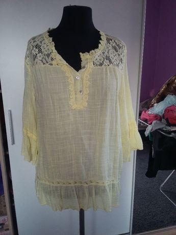 Nowa tunika koszula żółta falbanki zwiewna włoska italy oversize guzik