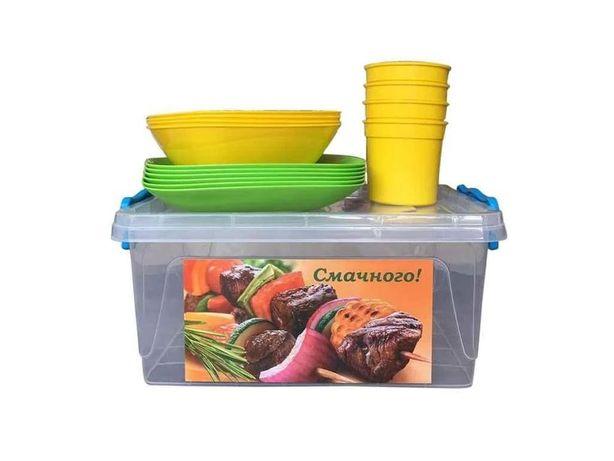 Набор пластиковой посуды для пикника на 7 персон
