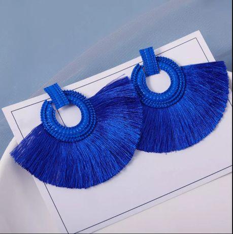 Серьги, серьги-гвоздики с бахромой в стиле бохо