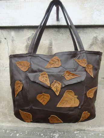 Artystyczna duża torba skórzana z liśćmi. Handmade