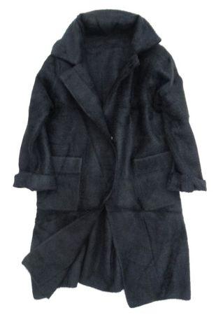 Elegancki luksusowy klasyczny płaszcz włoski wełna ALPAKA czarny SML