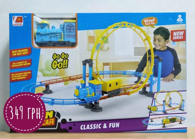 Детская Железная дорога с петлями цветная Train electric rail car