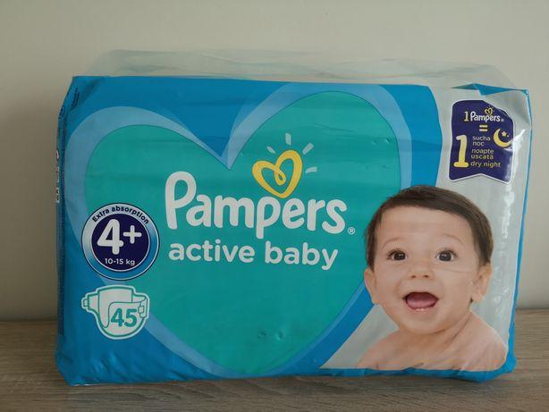 Pieluchy PAMPERS 4+. 45 szt, 10-15 kg active baby