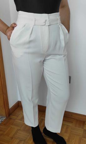 Calça reta de pinças branca - Mango - Mulher