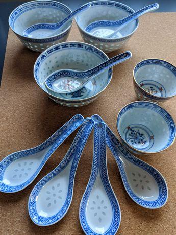Porcelana chińska vintage miski łyżki filiżanki złoto