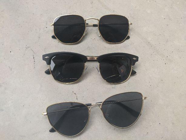 Okulary przeciwsłoneczne czarne złote oprawki nowe 3 pary