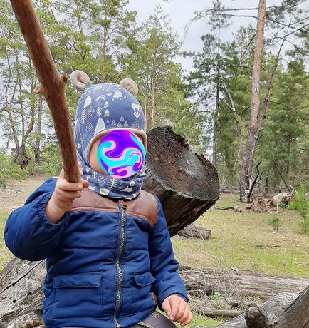 Деми комплект шапочка и хомут для мальчика