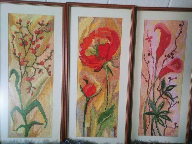 Kwiaty recznie haftowane 3 obrazy