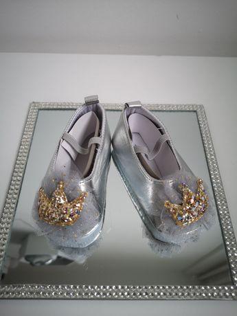 Nowe buciki brokat korona roczek księżniczka srebrne
