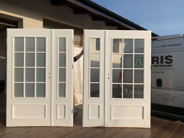 Drzwi wewnętrzne białe dwuskrzydłowe KRIS francuskie RAL9016