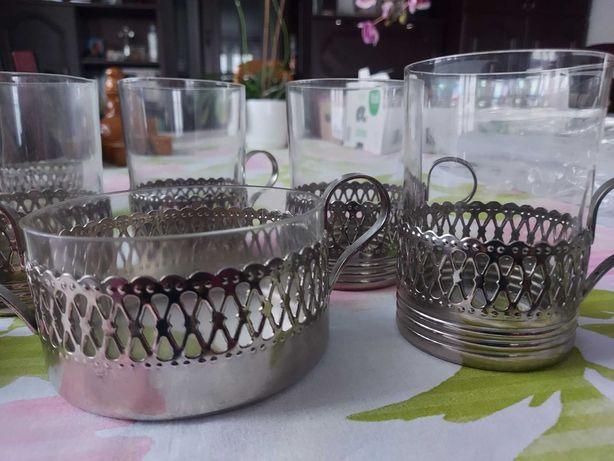 Zestaw PRL szklanki z cukiernicą