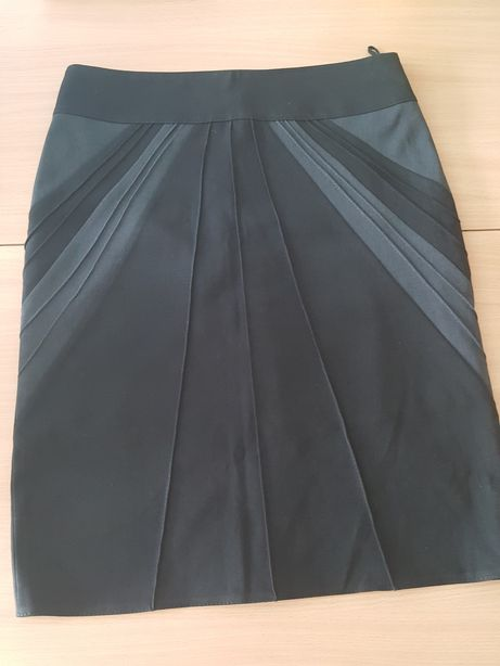 SPÓDNICZKA ołówkowa czarna z szarym, midi, r. 44, nowa spódnica