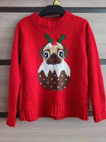 Детский свитер новогодний с мопсом