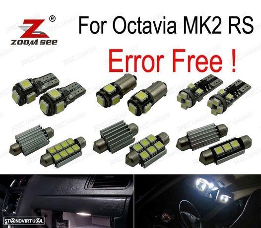 KIT COMPLETO DE 12 LÂMPADAS LED INTERIOR PARA SKODA OCTAVIA 2 SALÓN MK2 MK II SEDAN RS 1Z3 (2005-2