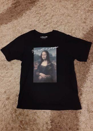 Футболка Pull&Bear La Gioconda Мона Лиза, черная, оригинал