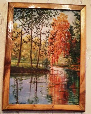 Картина маслом на холсте пейзаж осень настенная картина живопись