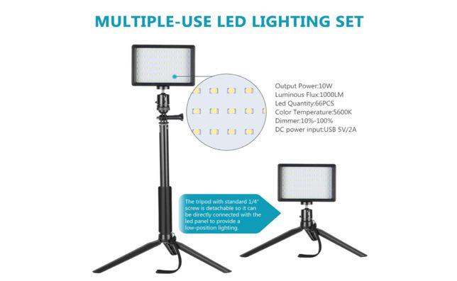 Luz LED regulável com suporte de tripé ajustável e filtro -Tik Tok Aro