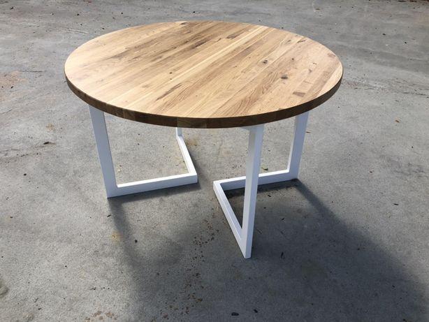 Stół okrągły rozkladany dębowy loftt, nowoczeny