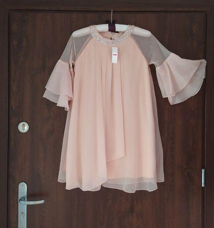 Lindex r.152 zwiewna morelowa sukienka na okazje
