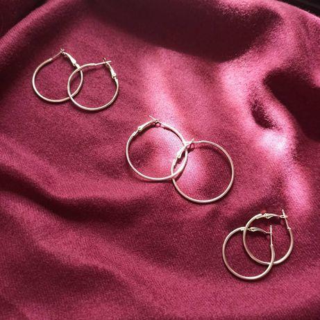 Серьги кольца серебристые