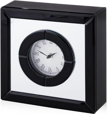 Glamour lustrzany duży zegar stołowy elegancki czarne szkło NOWY