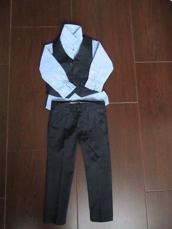 Elegancki komplet dla chłopca, r. 98, koszula, spodnie, kamizelka