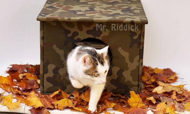 BUDA domek dla kota na dwór, MORO wodoodporna, ocieplana 40x40