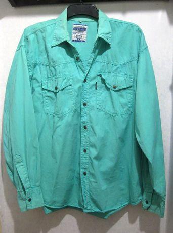 Рубашка Patrol яркая голубая бирюзовая коттон как джинсовая L XL