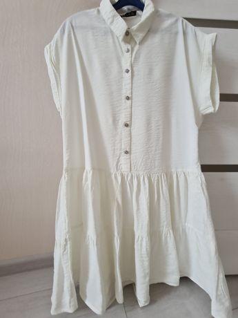 Платье Zara свободного кроя белое