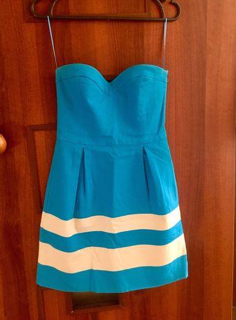 Платье летнее короткое голубое, S размер