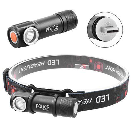 Налобный фонарь Police BL-2155, встроенный аккумулятор, ЗУ USB, магнит