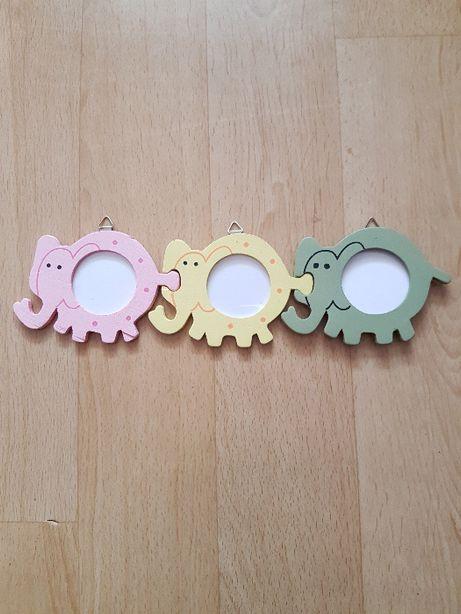 ramki słoniki na trzy małe zdjęcia do pokoju dziecięcego słonie