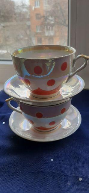 Чашки с блюдцами (пара) горох, перламутр времен СССР
