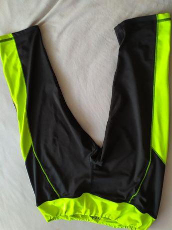 Legginsy sportowe do biegania do ćwiczeń czarne neon damskie na siłown