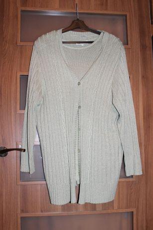 Duży rozmiar jak nowy 2częściowy sweter damski typu bliźniak dzianina