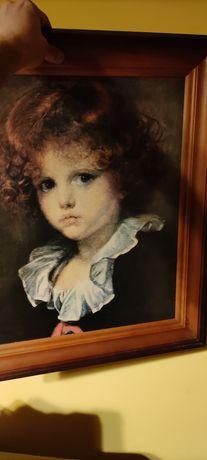 Obraz dziecko portret, rama drewno