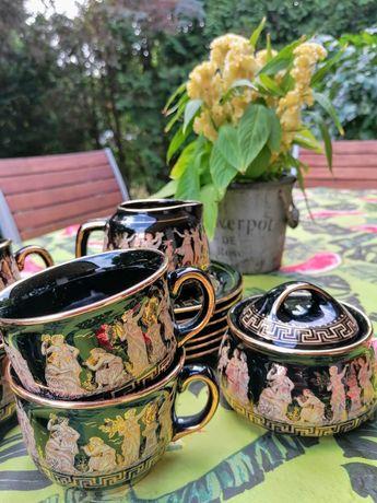 Zestaw greckiej porcelany pozłacany. Do kawy, herbaty. Na prezent.