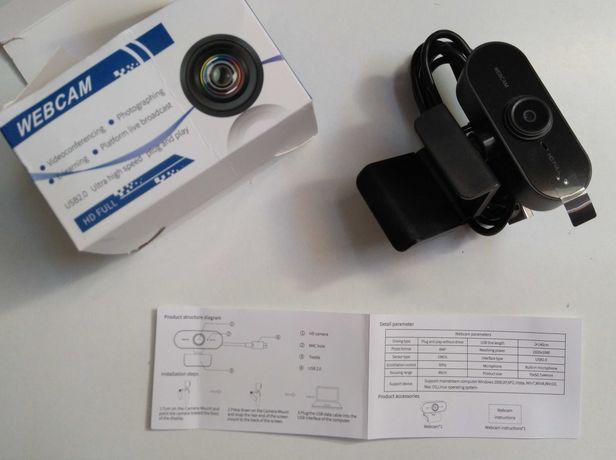 Webcam 1080p com microfone, videochamada, conferências de trabalho