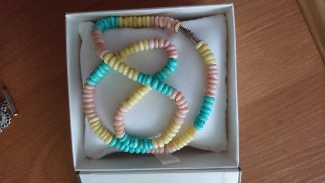 korale, naszyjnik, kolor pastelowy, 40 cm