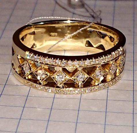 Кольцо каблучка Дорожка бриллиант діамант жёлтое золото 585 19-19,5р