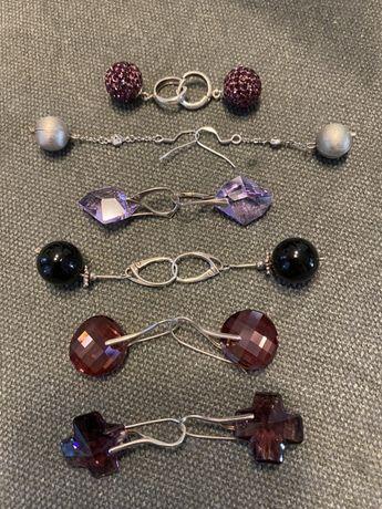 Kolczyki srebrne ze swarowskim i inne kamienie