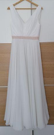 Muślinowa, prosta suknia ślubna
