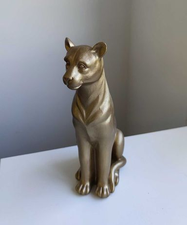 Estatueta Leopardo Jaguar Lince Dourado Estilo Eclético Hôma Novo