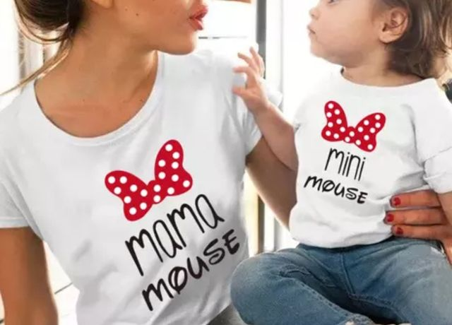 Koszulka bluzka t-shirt Mama i córka myszka Miki mini zestaw