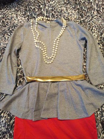 Платье футляр с баской серо-красное