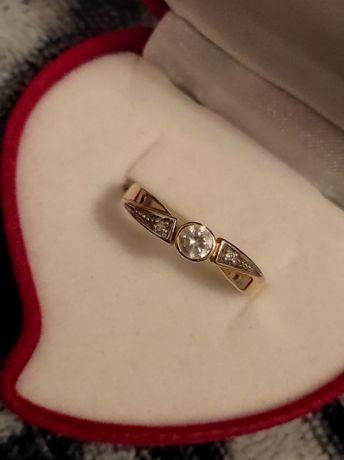 Pierścionek złoty i srebrny NOWY diament zaręczyny pierścień