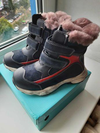 Зимние детские ботинки на меху из кожи размер31