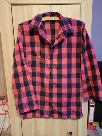 Koszula w kratę różowa
