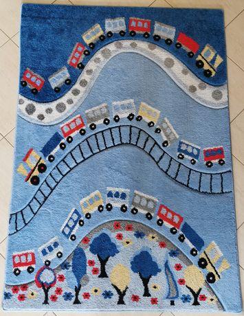 Dywan Łuszczów z torami i pociągami dla chłopca 120 x 170