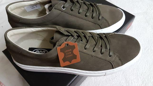 Кожаные сверху и внутри кроссовки немецкой фирмы Am Shoe 44р,оригинал.
